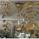 Candeeiro 6 Braços Cristal Banho Ouro